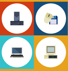 flat icon laptop set of processor computer vector image