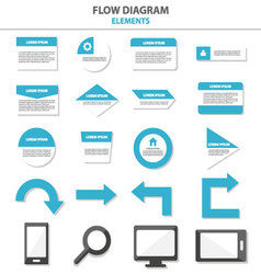 Flow diagram infographic elements flat design set vector
