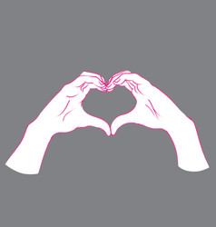 Gesture female hands in the form of heart vector