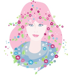 Girl of spring vector