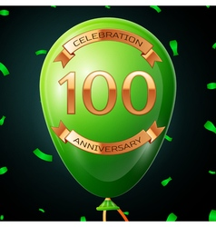 Green balloon with golden inscription hundred vector