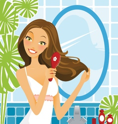 Hairbrush woman vector
