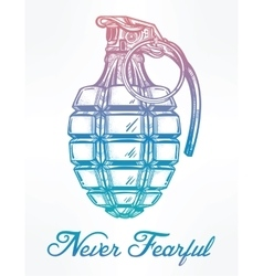 Hand drawn design of an army manual grenade vector image