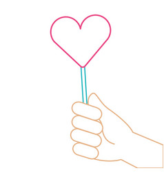 Hand holding lollipop sweet candy vector
