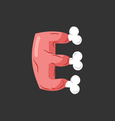 Letter e meat font pork and bone alphabet sign vector