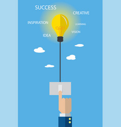 light bulb with switch and business hand vector image vector image