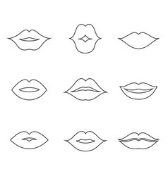 lips outline thin art set vector image