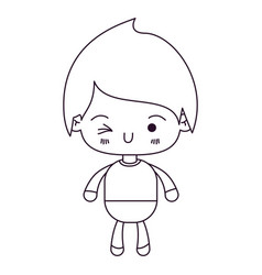 Monochrome silhouette of kawaii little boy winking vector