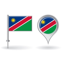 Namibian pin icon and map pointer flag vector