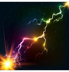 Rainbow colors shining cosmic plasma lightning vector