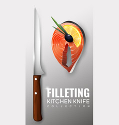 Realistic filleting kitchen knife concept vector