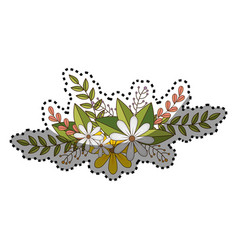 Sticker of flowers crown with floral design and vector