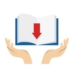 Textbook library with arrow download isolated icon vector