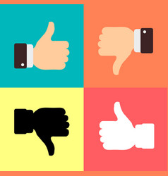 Thumbs up like dislike icons for social network vector