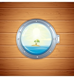 Tropical island view from porthole image vector