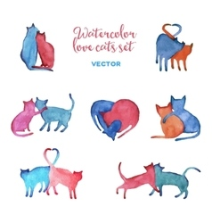 Watercolor cats set vector image vector image