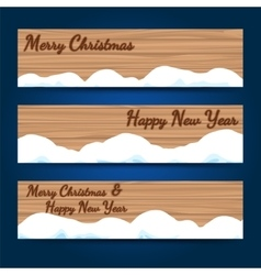 Winter wood horizontal banners template vector image