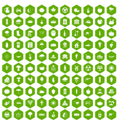100 pumpkin icons hexagon green vector
