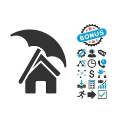 Home under Umbrella Flat Icon with Bonus vector image