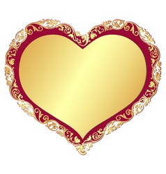 Gold gradient valentine isolated frame vector