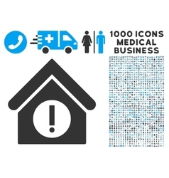 Danger building icon with 1000 medical business vector