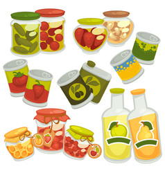 preserves jam jars juice bottles pickles tin vector image