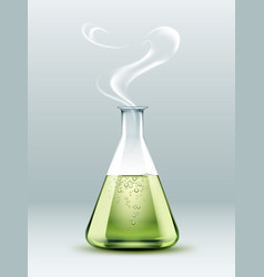 Steaming laboratory flask vector