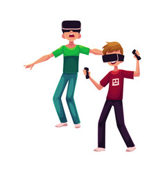 Two boys wearing virtual reality headsets vector