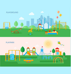 playground park banners set vector image