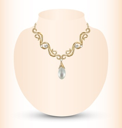 Golden feminine necklace vector