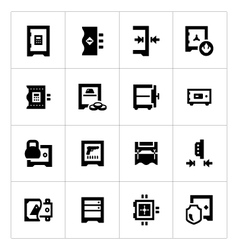 Set icons of safe vector