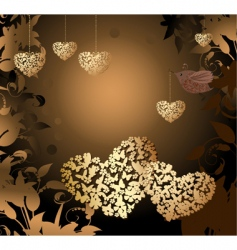 gold valentines with a bird vector image