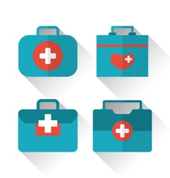 Set icons of medicine chest with long shadow in vector