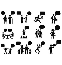 People with speech bubbles icons vector