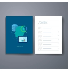 Modern database development flat icons cards vector