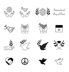 Peace day badges icons vector