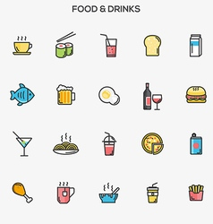 Flat line color icons food and drinks vector