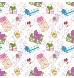 Seamless gift boxes pattern vector