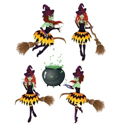 Dark witch with broom6 vector