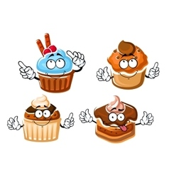 Chocolate cake cupcake and caramel muffins vector image