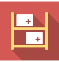 Medical warehouse flat square icon with long vector
