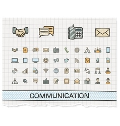 Communication hand drawing line icons vector
