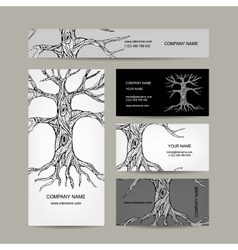 Tree with roots Business cards design vector image