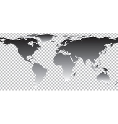 Black map of world on transparent background vector image vector image