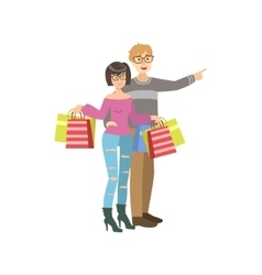 Couple With Paper Bags In Shopping Mall vector image vector image