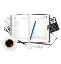 diary and office supplies vector image vector image