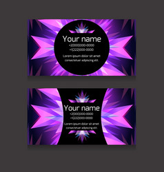 double-sided neon business card templat vector image