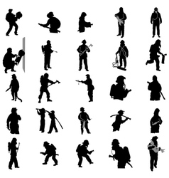 Firefighter silhouettes set vector