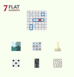 Flat icon games set of bones game labyrinth xo vector