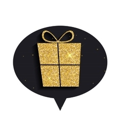 Gold glitter shiny gift box speech bubble vector
